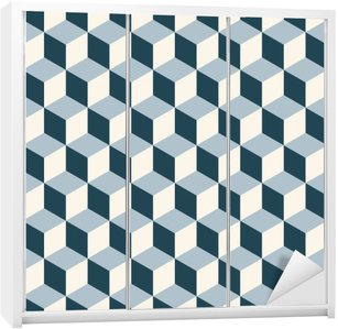 Kaststicker Vintage kubussen 3d patroon achtergrond. Retro vector patroon.