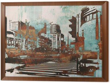 Kaupunkien kaupunkikuva abstrakti grunge, kuvitus maalaus Kehystetty Kangas