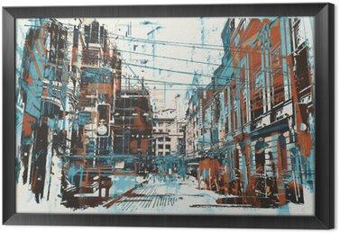 Kuva maalaus kaupunkien katu grunge tekstuuri Kehystetty Kangas