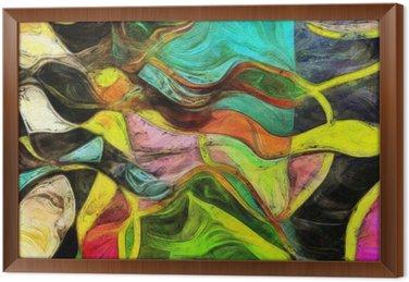 Pyörteitä muotoja, värejä ja viivoja Kehystetty Kangas