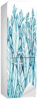 Mønster av blå blader, gress, fjær, akvarell blekk tegning Kjøleskapsklistremerke