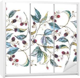 Klesskapklistremerke Håndtegnet akvarell sømløs ornament med naturlige motiver: Brombærgrener, blader og bær. Gjentatt dekorative illustrasjon, grense med bær og blader