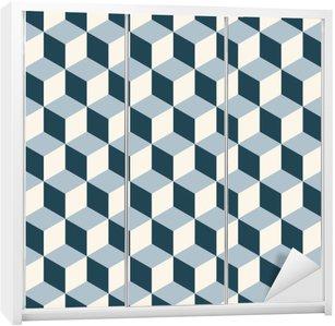 Klesskapklistremerke Vintage kuber 3d mønster bakgrunn. Retro vektor mønster.