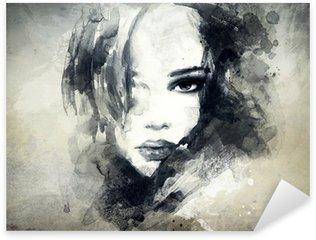 Abstrakt kvinde portræt Pixerstick Klistermærke