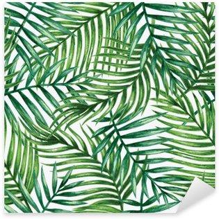 Akvarel tropisk palme efterlader sømløs mønster. Vektor illustration. Pixerstick Klistermærke