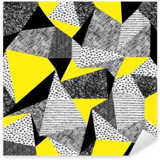 Geometrisk sømløs mønster i retro stil. Vintage baggrund. Tr Pixerstick Klistermærke