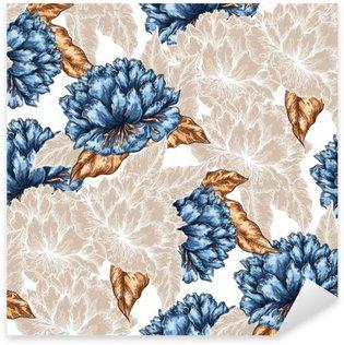 Problemfri grafisk blomstermønster Pixerstick Klistermærke
