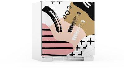 Koelkaststicker Abstracte Scandinavische compositie in zwart, wit en pastel roze.