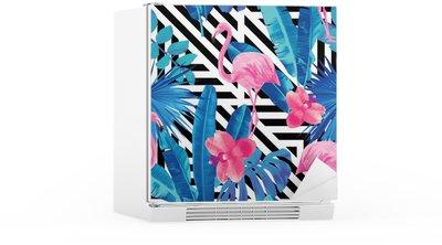 Koelkaststicker Flamingo's en orchideeën patroon, geometrische achtergrond