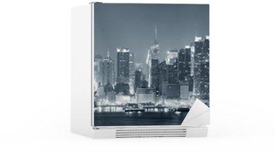Koelkaststicker New York City Manhattan zwart en wit