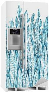 Koelkaststicker Patroon van blauwe bladeren, gras, veren, waterverf inkttekening