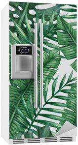 Koelkaststicker Waterverf het tropische palm verlaat naadloos patroon. Vector illustratie.