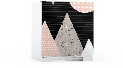 Abstrakt Geometrisk Landskab Køleskab Klistermærke