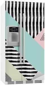 Abstrakt håndtegnet geometrisk mønster Køleskab Klistermærke