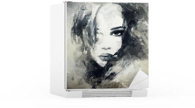 Abstrakt kvinde portræt Køleskab Klistermærke