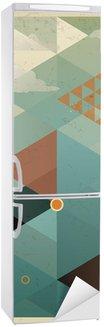 Abstrakt Retro Geometrisk Baggrund med Skyer Køleskab Klistermærke