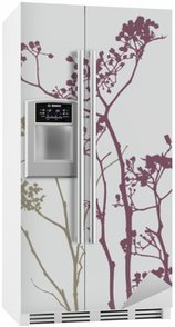 Fugl på eng blomster Køleskab Klistermærke
