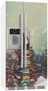Mand læsebog mens du sidder på bunke af bøger, videns koncept, illustration maleri Køleskab Klistermærke