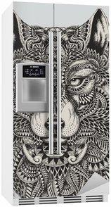 Meget detaljeret abstrakt ulv illustration Køleskab Klistermærke