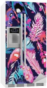 Smukke fjer vektor sømløs baggrund Køleskab Klistermærke