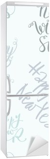 Kühlschrankaufkleber Nahtlose Vektor-Schriftzug-Muster