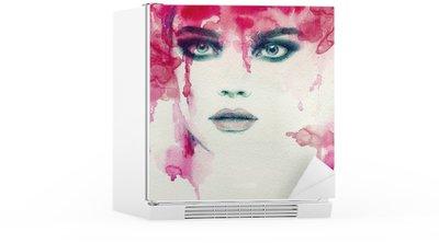 Kühlschrankaufkleber Schöne Frau. Aquarell Illustration