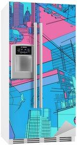 Kühlschrankaufkleber Stadtleben Collage