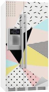 Kylskåpsdekor Geometriska memphis background.Retro design för inbjudan, visitkort, affisch eller banner.