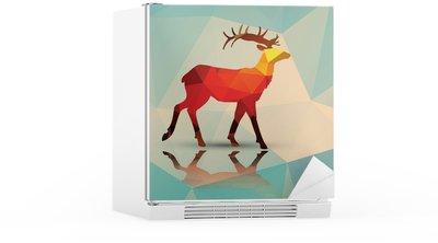Kylskåpsdekor Geometriska polygonala hjortar, mönsterdesign, vektor