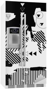 Kylskåpsdekor Moderiktiga svart-vit geometrisk bakgrund. Retrostil textur
