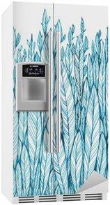 Kylskåpsdekor Mönster av blå löv, gräs, fjädrar, vattenfärg färgpulver