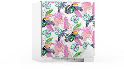 Kylskåpsdekor Monstera tropiska rosa växtblad och Toucan fågel seamless. Exotisk natur mönster för tyg, tapet eller kläder.