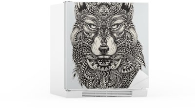 Kylskåpsdekor Mycket detaljerade abstrakt wolf illustration