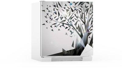 Kylskåpsdekor Sammanfattning Träd med origamifåglar.