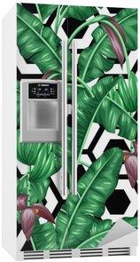 Kylskåpsdekor Seamless bananblad. Dekorativ bild av tropiska bladverk, blommor och frukter. Bakgrund göras utan urklippsmask. Lätt att använda för bakgrund, textil, omslagspapper