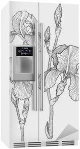 Kylskåpsdekor Skiss av bukett av blommande iris