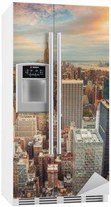 Kylskåpsdekor Solnedgång utsikt över New York City tittar över centrala Manhattan