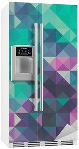 Kylskåpsdekor Triangel bakgrund, grönt och violett
