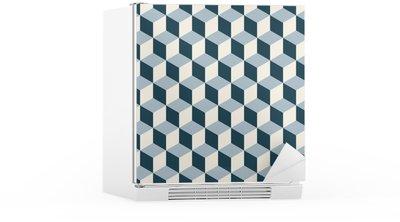 Kylskåpsdekor Vintage kuber 3d mönster bakgrund. Retro vektor mönster.