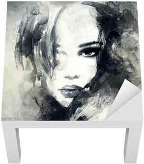 Abstrakti nainen muotokuva Lack-pöydän Pinnoitus