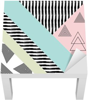 Lack Table Veneer Abstract hand drawn geometric pattern