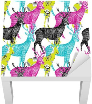 Lack Table Veneer deer hand drawn seamless background