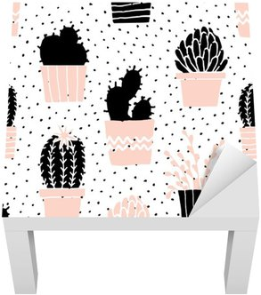 Lack Table Veneer Hand Drawn Cactus Pattern