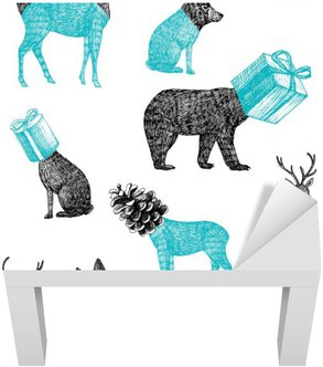 Lack Table Veneer hand drawn winter animals seamless background