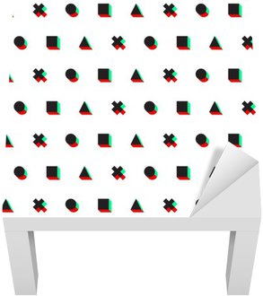 Lack Table Veneer triangle cross circle square stereo 3d digital web pattern