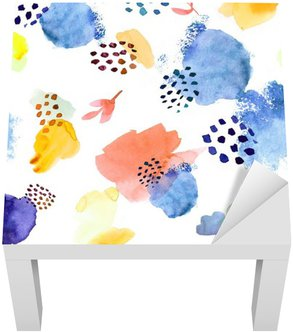 Lack Table Veneer Watercolor seamless pattern,dot memphis fashion style, bright de
