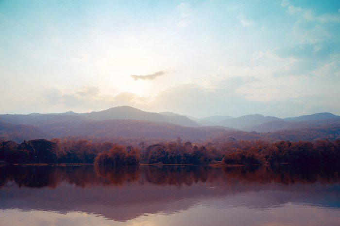 Landscape of lake mountains in autumn - vintage styles.
