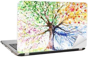 Laptop-Aufkleber Baum in den vier Jahreszeiten