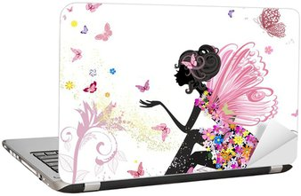 Laptop-Aufkleber Flower Fairy in der Umgebung von Schmetterlingen
