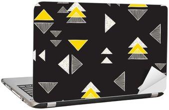 Laptop-Aufkleber Nahtlose Hand gezeichnete Dreiecke Muster.